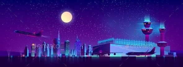 Night Flights From City Airport Cartoon Vector - Travel Conceptual