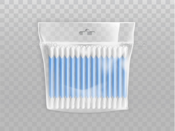 Plastic Packet with Cotton Buds Realistic Vector - Man-made Objects Objects
