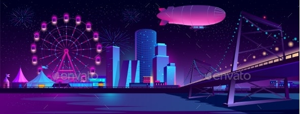 Vector Concept Background with Night City - Backgrounds Decorative