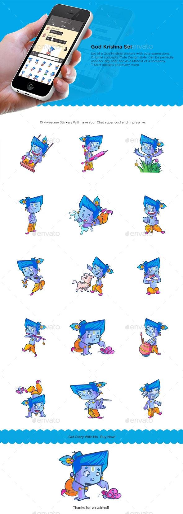 God Krishna Stickers - Miscellaneous Characters
