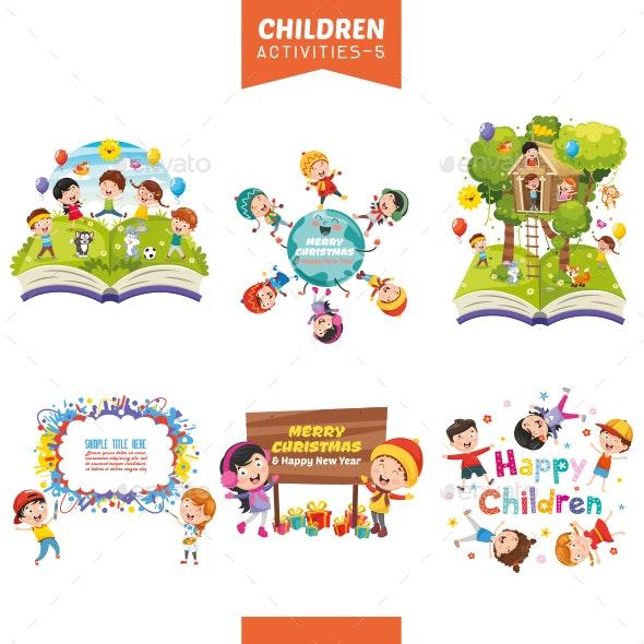 Vector Illustration Of Children Activities Set - People Characters