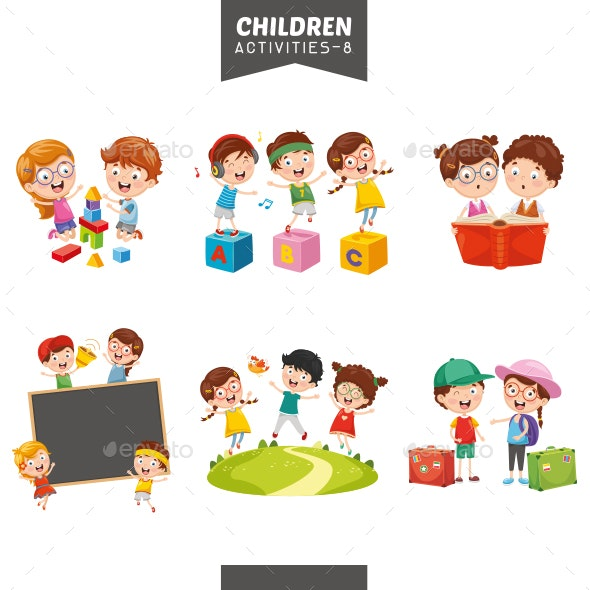 Vector Illustration Of Students Collection - People Characters