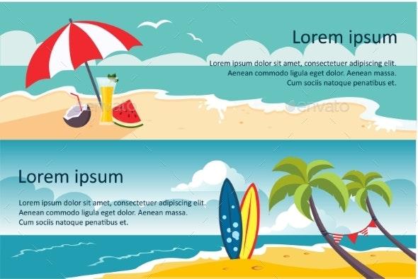 Summer Travel Horizontal Banners, Sandy Beach - Seasons/Holidays Conceptual