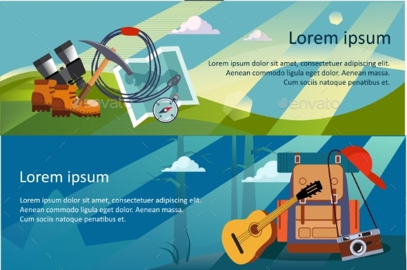 Camping, Hiking and Trekking Horizontal Banners - Sports/Activity Conceptual