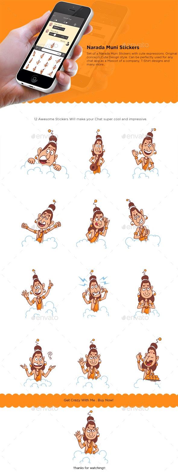 Narada Muni Stickers - People Characters