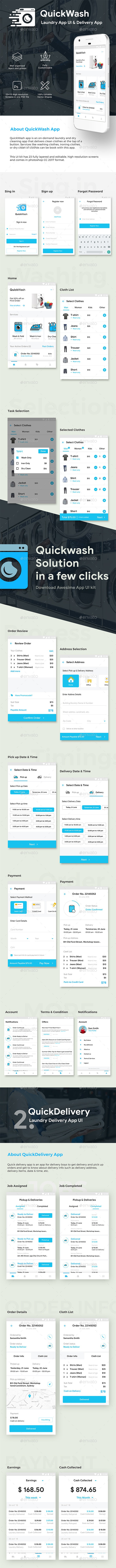 Laundry Customer App & Delivery App Full UI KIT | QuickWash - User Interfaces Web Elements