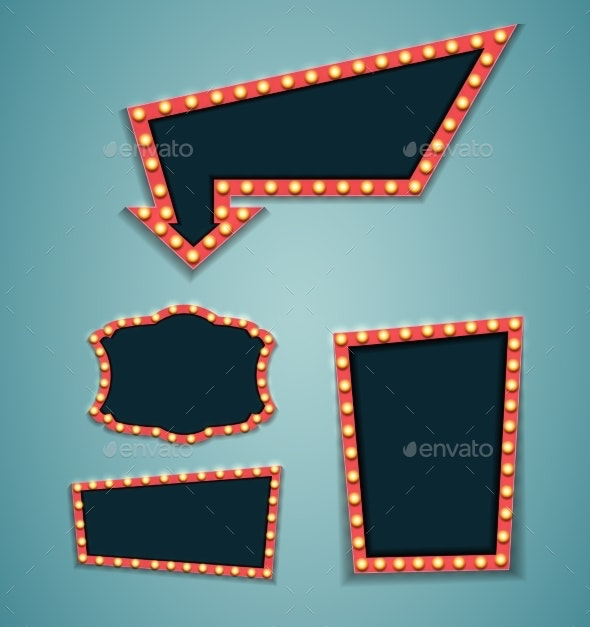 Vintage 3d Light Retro Frame. Vector Illustration - Miscellaneous Vectors