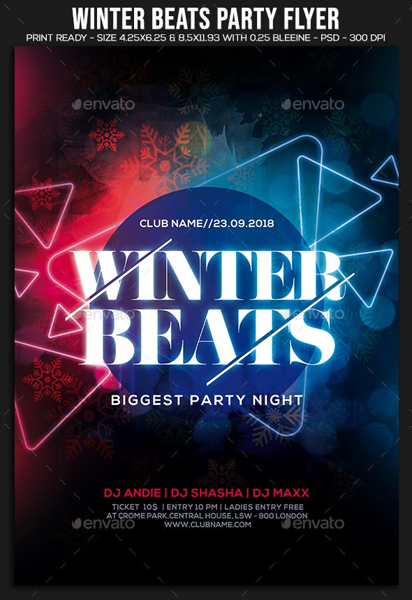 Winter Beats Party Flyer - Clubs & Parties Events
