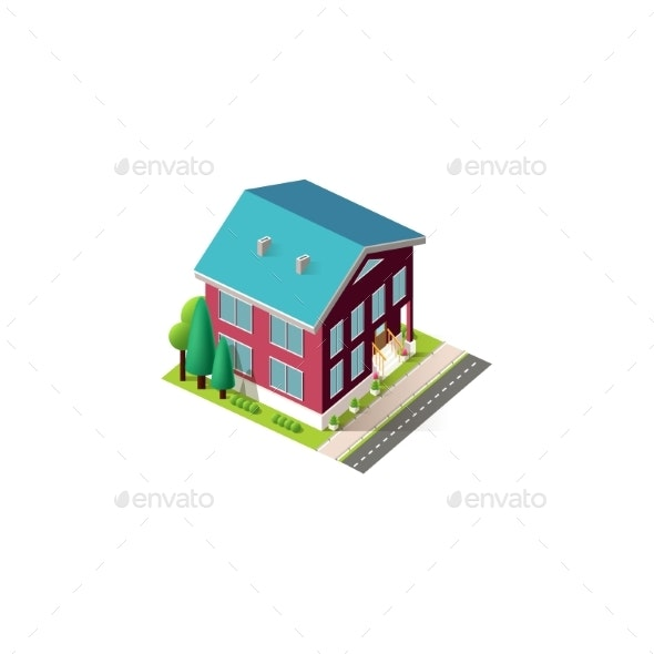 Isometric Facade Red Home Penthouse - Buildings Objects