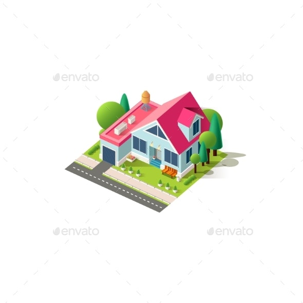 Isometric Facade Home Cottage - Buildings Objects