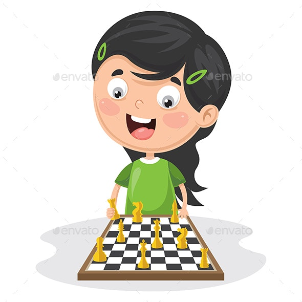 Vector Illustration Of A Kid Playing Chess - People Characters