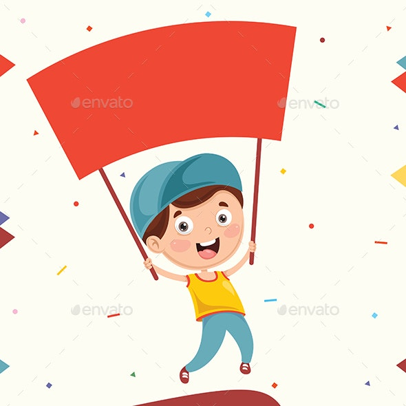 Vector Illustration Of Kid Holding Placard - People Characters