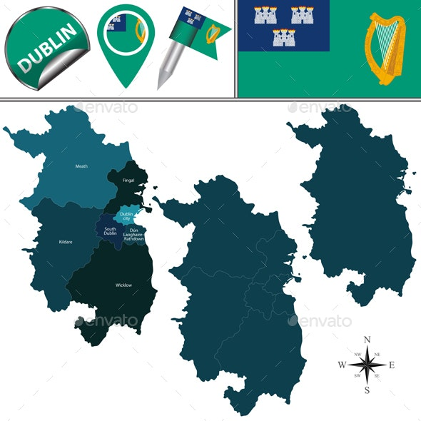 Map of Dublin with Counties - Travel Conceptual