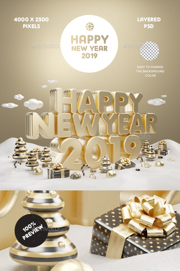 Happy New Year Gold 2019 - 3D Backgrounds