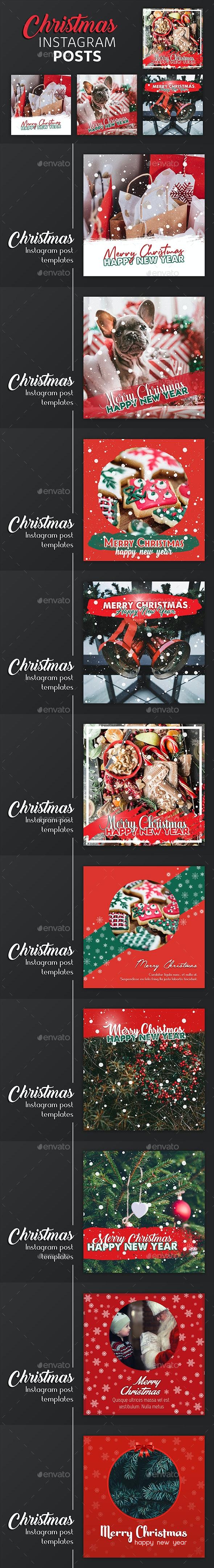 Christmas Instagram Post Templates - Social Media Web Elements