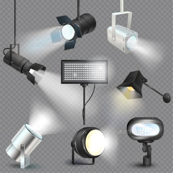 Spotlight Vector Light Show Studio with Spot Lamps