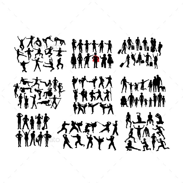 100 More Silhouettes of Human Activities - People Characters
