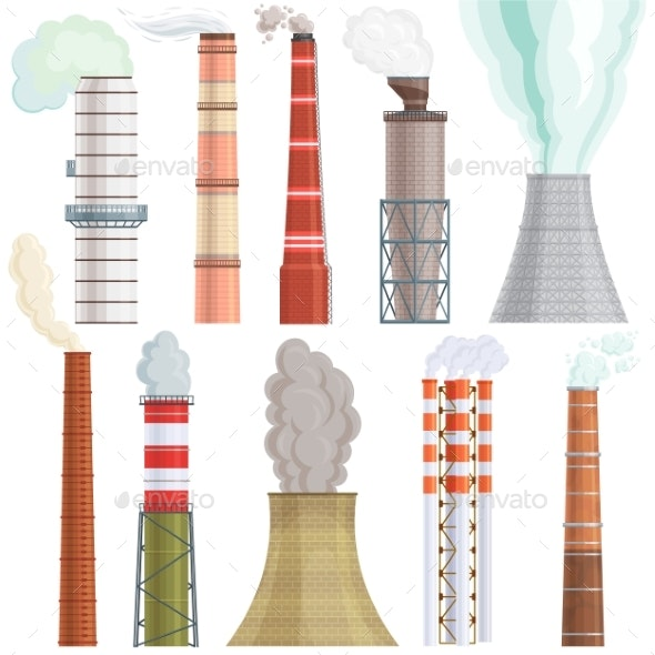 Industry Factory Vector Industrial Chimney - Industries Business