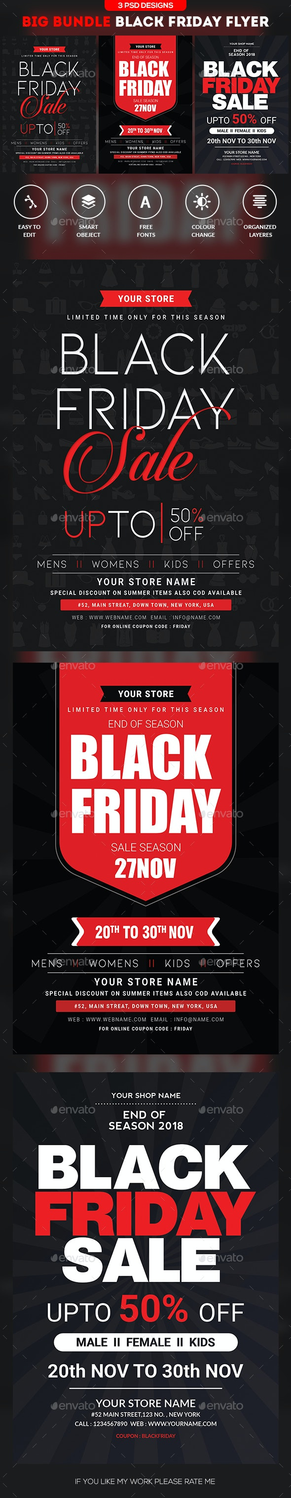 Black Friday Flyer - Bundle - Clubs & Parties Events