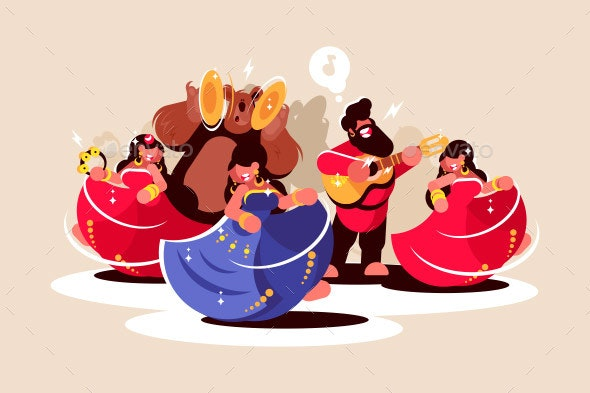 Gypsy Ensemble Dancing and Playing on Instruments - People Characters