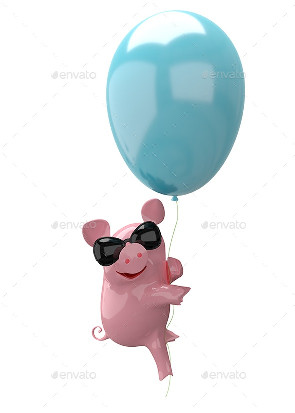 3D Illustration of a Pig in Balloon Glasses - Characters 3D Renders