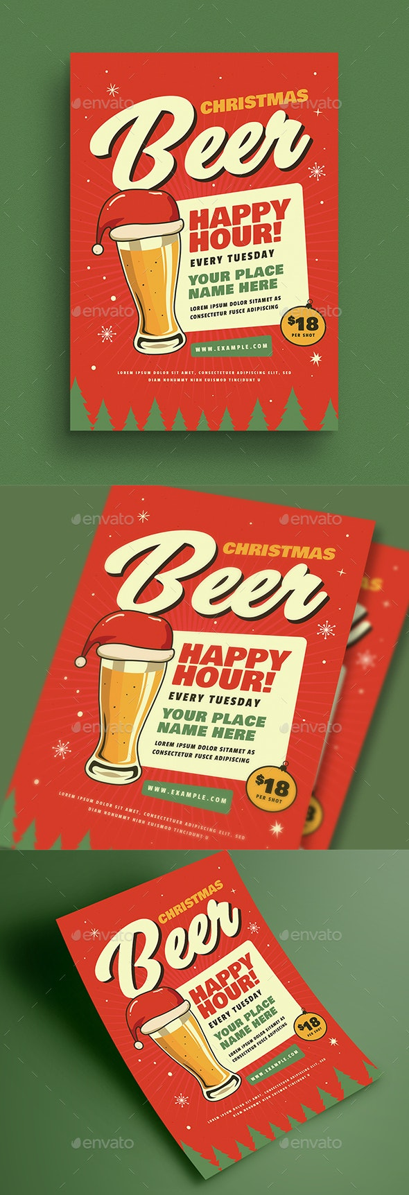 Retro Christmas Beer Party Flyer - Events Flyers