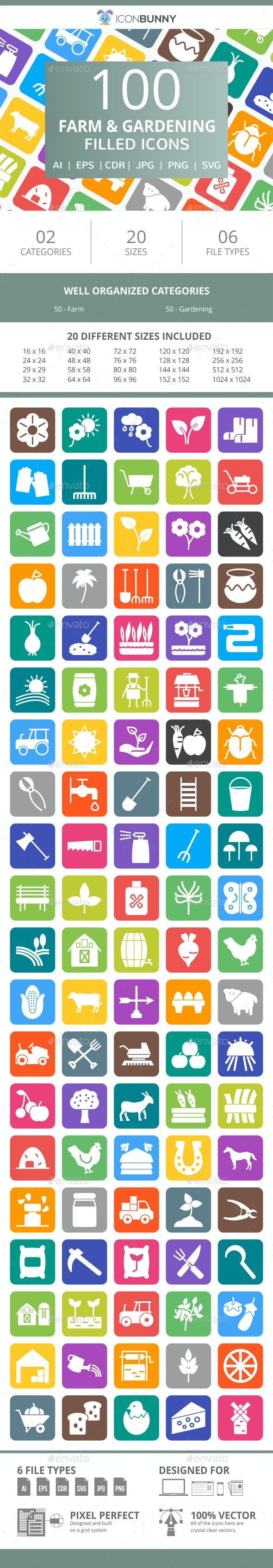 100 Farm & Gardening Filled Round Corner Icons - Icons