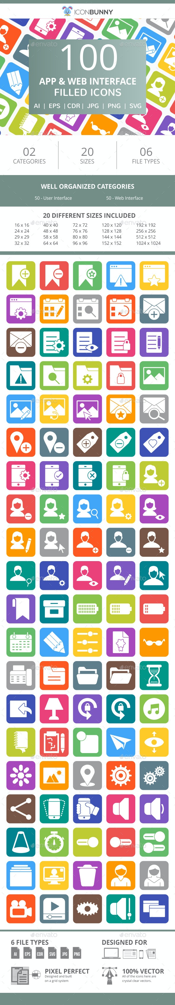100 App & Web Interface Filled Round Corner Icons - Icons