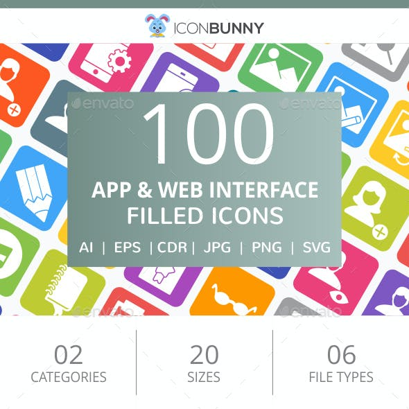 100 App & Web Interface Filled Round Corner Icons