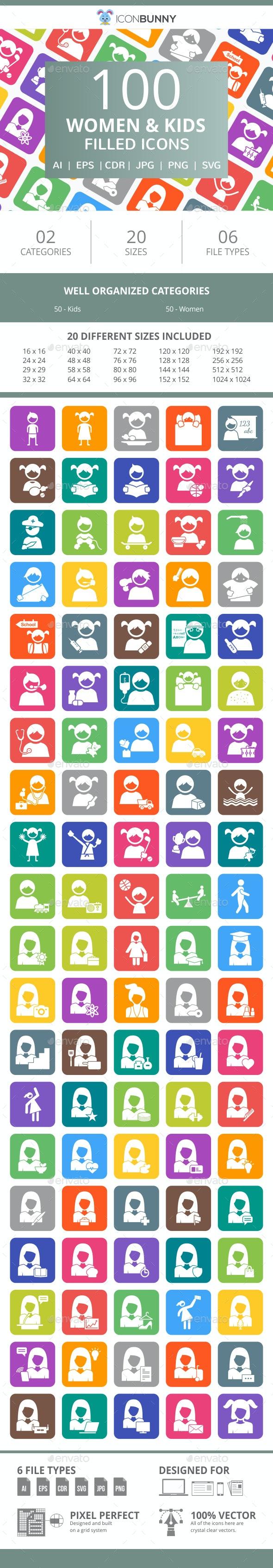 100 Women & Kids Filled Round Corner Icons - Icons