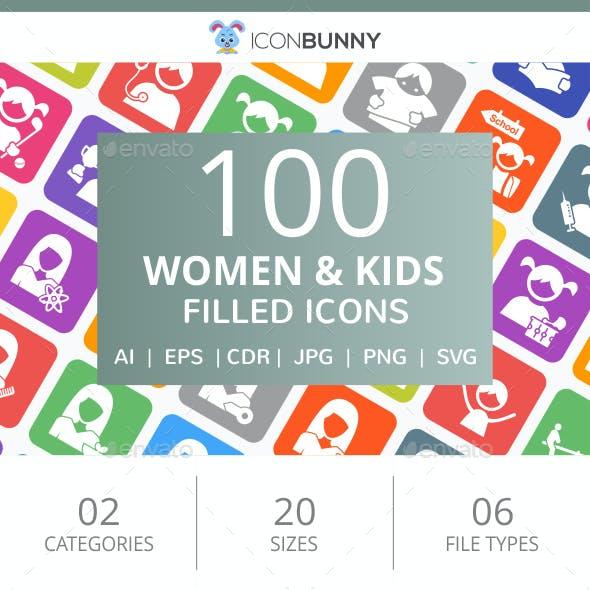 100 Women & Kids Filled Round Corner Icons