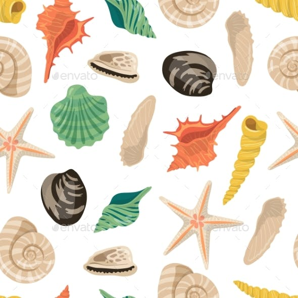 Vector Cartoon Sea Shells Pattern or Background