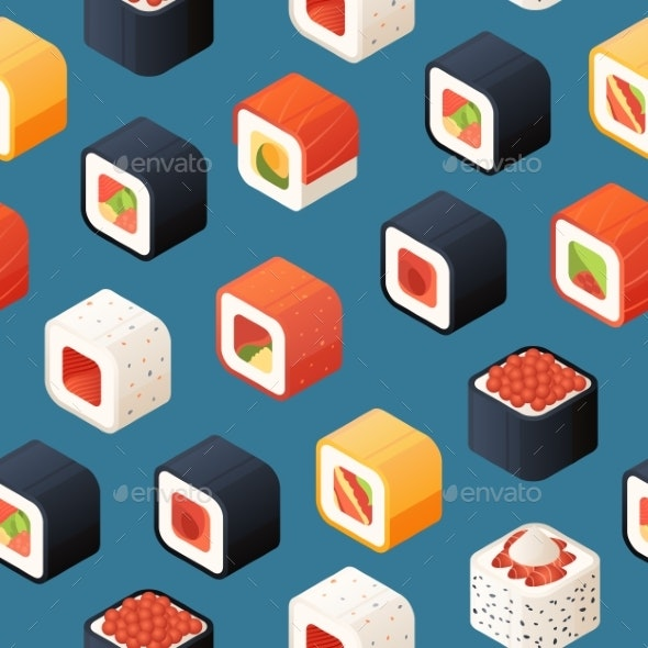 Vector Isometric Sushi Pattern or Background - Miscellaneous Vectors