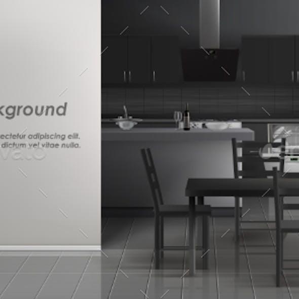 Vector Mockup of Kitchen Room Interior