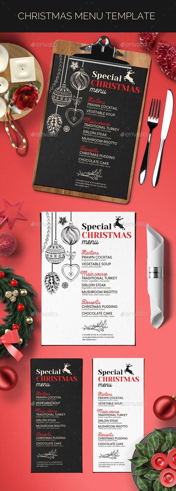 Christmas Dinner Party Menu - Food Menus Print Templates