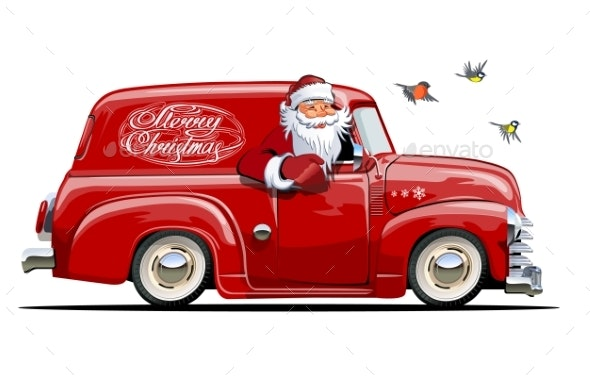 Cartoon Retro Christmas Van with Santa Claus - Christmas Seasons/Holidays