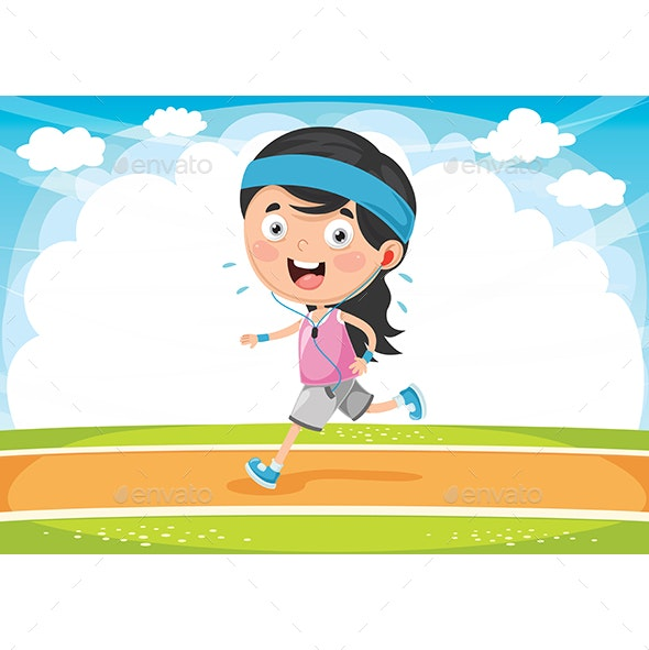 Vector Illustration Of Kid Running - People Characters