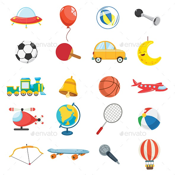 Vector Illustration Of Kids Toys - Man-made Objects Objects