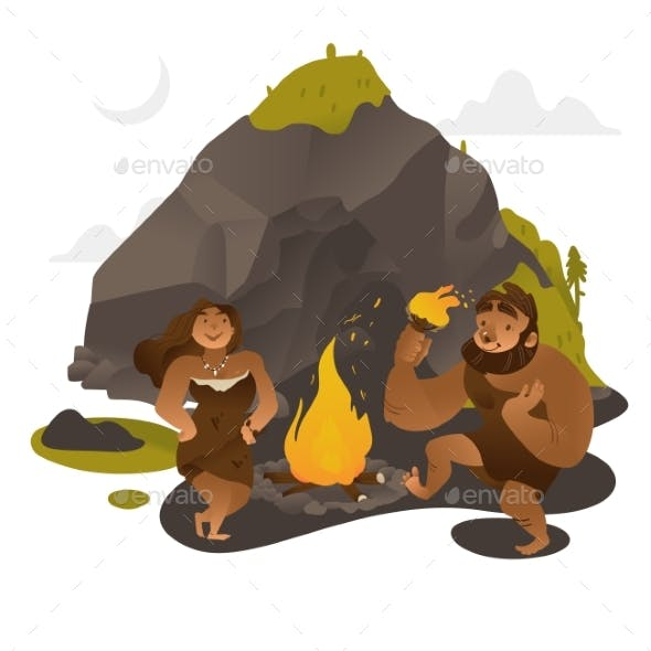 Ancient People Dancing Around Fire Near Rock