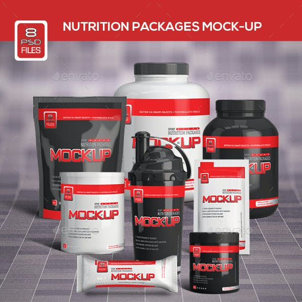 Nutrition Supplement Packages Mock-Up