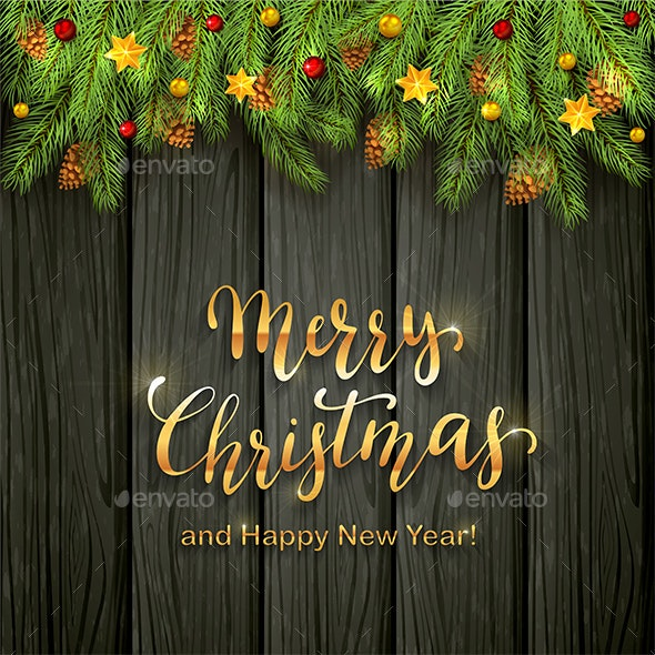 Christmas Lettering on Black Wooden Background with Holiday Decorations - Christmas Seasons/Holidays