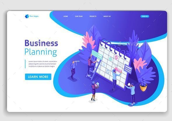 Landing Page Isometric Concept - Business Conceptual