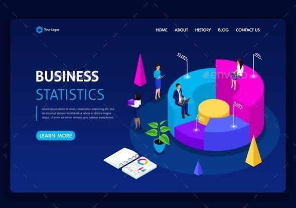 Landing Page Isometric Concept - Business Conceptual