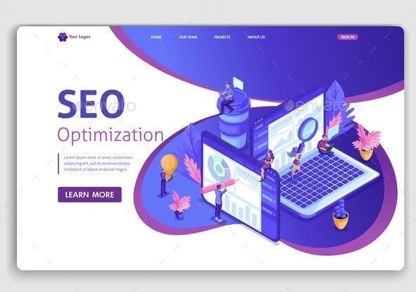 Landing Page Isometric Concept - Computers Technology