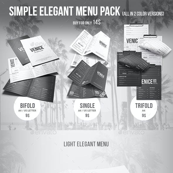 Simple Elegant Menu Pack (Bifold - Trifold - Single) - 2 Color Versions
