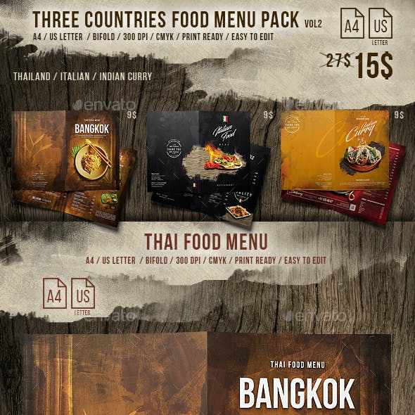 Three Countries Menu Pack vol-2 - A4 and US Letter