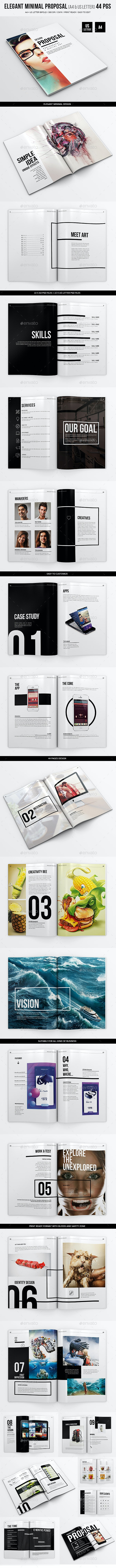 Elegant Minimal Proposal - 44 pgs - A4 and US Letter - Proposals & Invoices Stationery