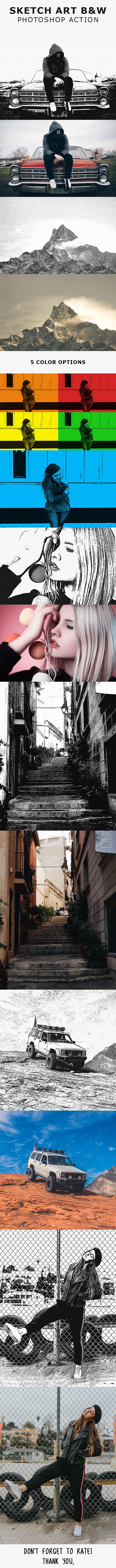 Sketch Art B&W Photoshop Action - Photo Effects Actions
