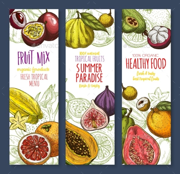 Vector Banners of Exotic Fresh Tropical Fruits Mix - Food Objects