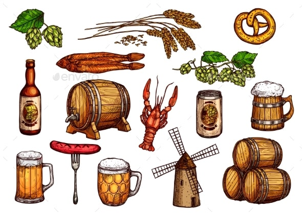 Vector Sketch Icons Set of Beer Snacks and Brewery - Food Objects